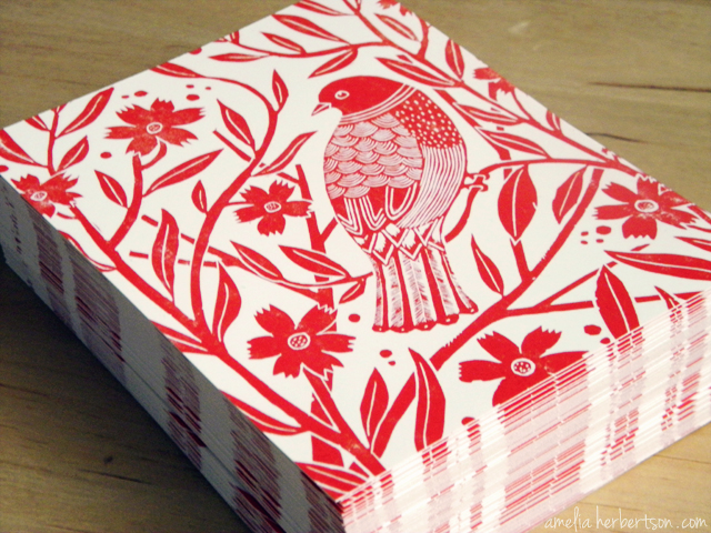 Postcards featuring my Red Bird linocut