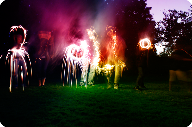 {sparklers} in a row