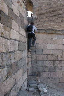 Ascent to the wall with this improbable ladder