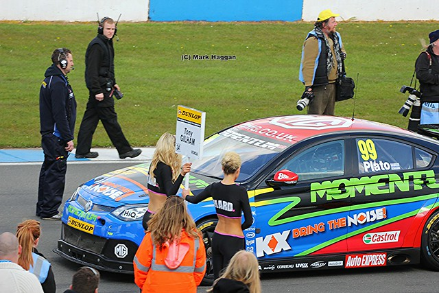 Jason Plato getting ready for his race at the BTCC race at Donington Park in April 2012