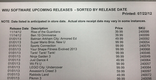gamestop Wii U List