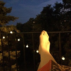 The lights on my balcony is at the top of my favorite things list. #yaynewplace, #jeanettewinterson
