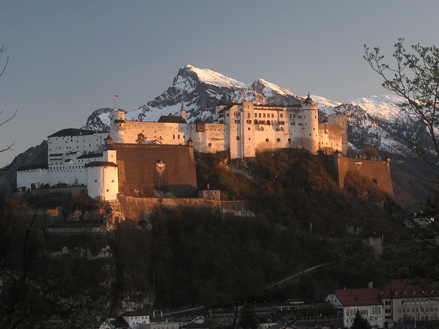 Hohensalzburg fortress and Untersberg in the evening
