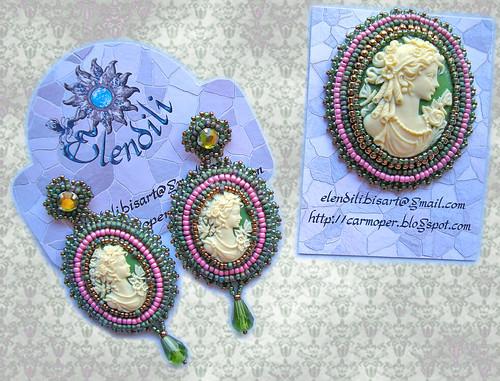 Conjunto camafeos verde-rosa-bronce by **Elendili**