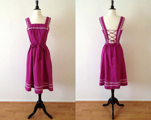 lanz fuchsia pinafore sailor dress