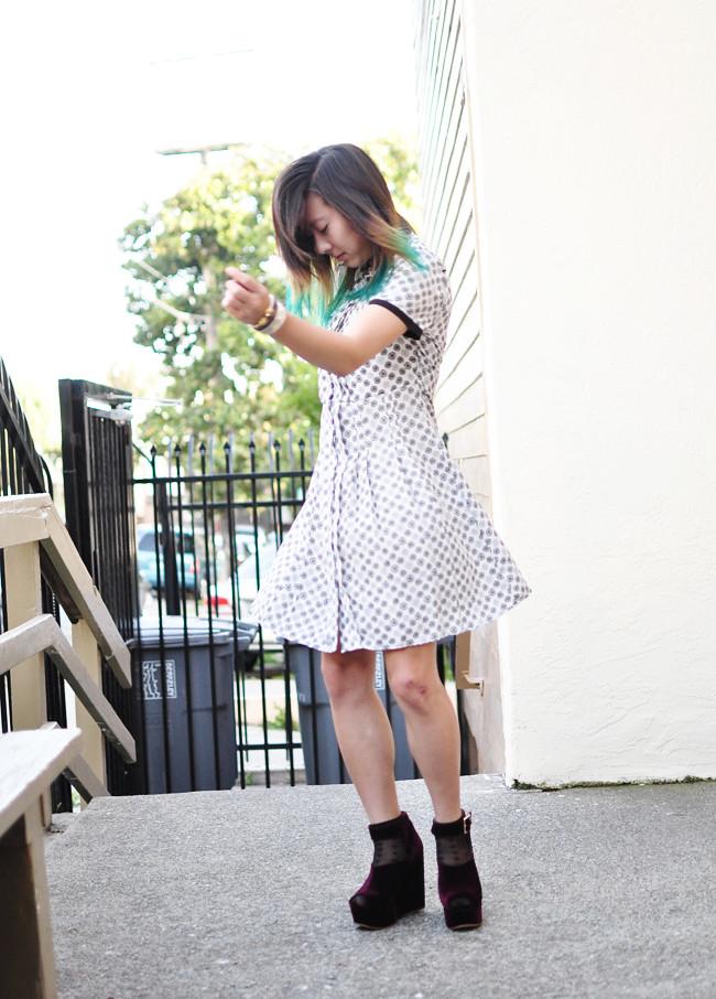 Jason Wu for Target dress, vintage purse, dip dyed hair, teal, TBA, burgundy, wedges, dance
