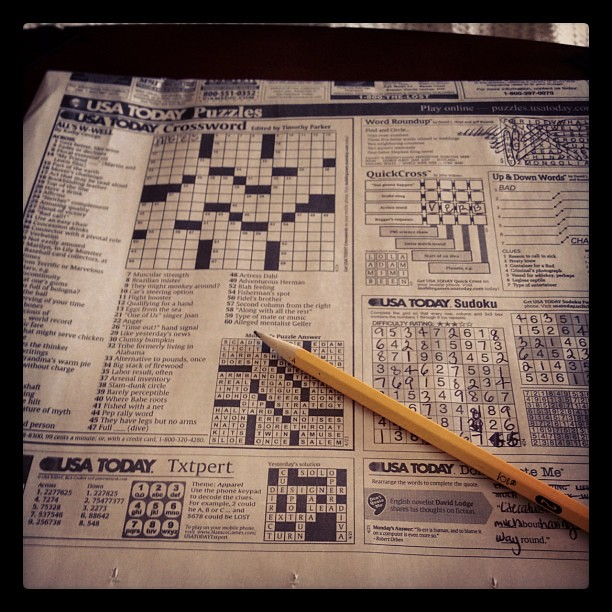 Attempting the USA Today crossword puzzle. Thinking of my Nana.