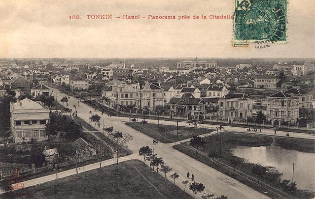 Hanoi - Panorama près de la citadelle (stamp 1907)