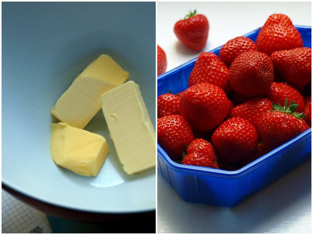 Zutaten für einen Erdbeer-Pistazien-Kuchen