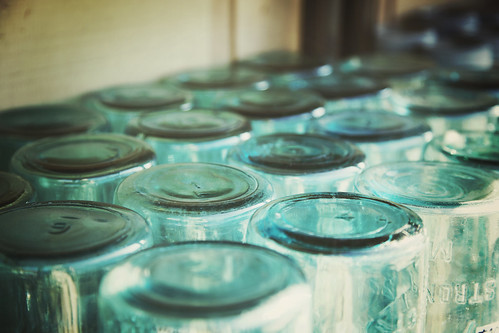Mason Jars all lined up