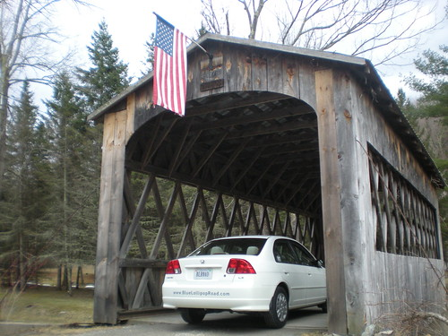The BLR-Mobile in Vermont at covered bridge