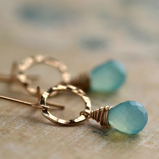 Aqua chalcedony hammered circle gold fill earrings