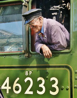 Driver Gordon Hodgson on Footplate Of LMS Steam Loco 46233 'Duchess of Sutherland' - Carlisle 26th May 2012