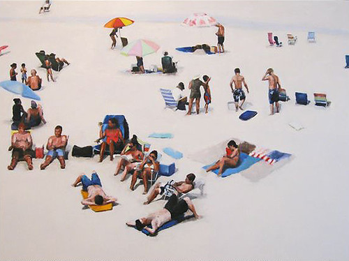 "Stephen Coyle, Gonna Sit in the Sun 'Til My Skin Turns Borwn, alkyd on panel, 36"" x 48"""