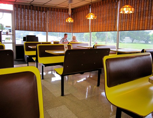 Daisy Family Restaurant Sign Interior Yellow Booths