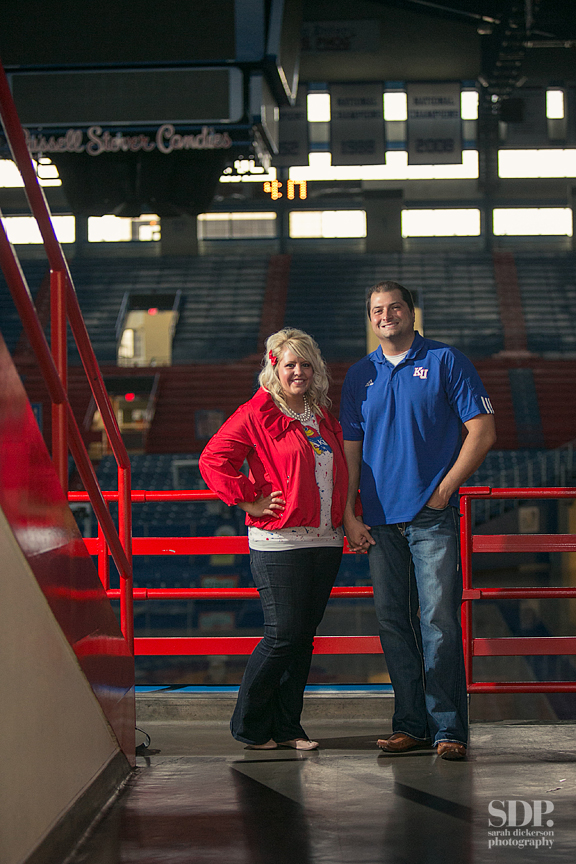 Lawrence Kansas engagement session Allen Fieldhouse