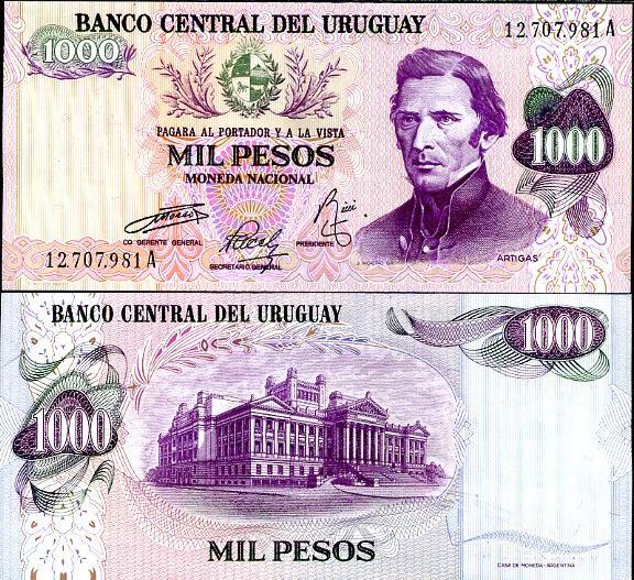 1000 Pesos Uruguay 1974, Pick 52