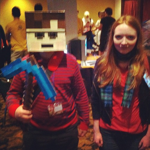 here with #Minecraft ( @superadamgalaxy )  and #AmyPond ( @oliviaconsiders ) #geeks #pcm2012