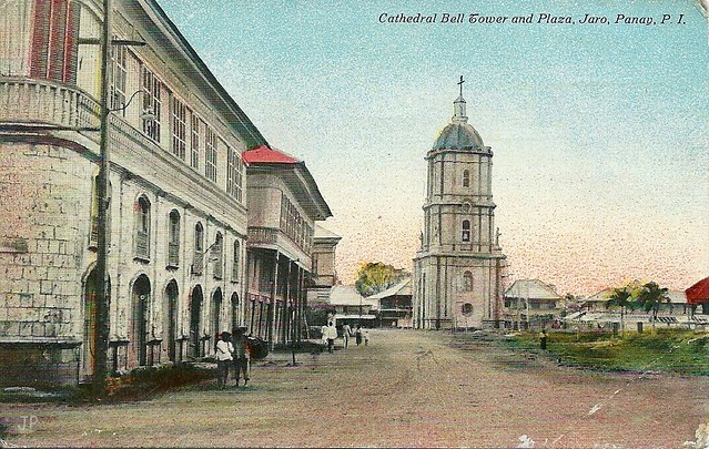 Cathedral Bell Tower and Plaza, Jaro, Pany, Philippines, early 20th Century, post card