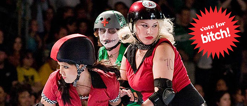 three of the Rose City Rollers during a bout