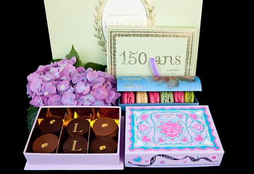 Ladurée's 150 anniversary box of macarons, box of chocolates and its 150 year anniversary card box