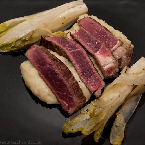 Sirloin steak, braised chicory, horseradish mash