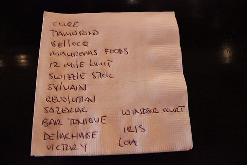 Napkin map to New Orleans mixology hotspots. Photo by George Ingmire.