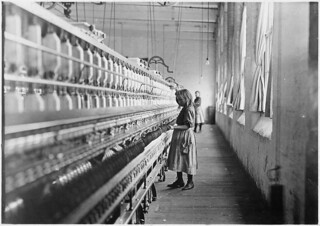 Sadie Pfeifer, 48 inches high. Has worked half a year. One of the many small children at work in Lancaster Cotton Mills, November 1908