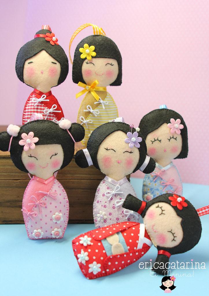 enfeites para jardim japones:Felt Japanese Dolls Kokeshi