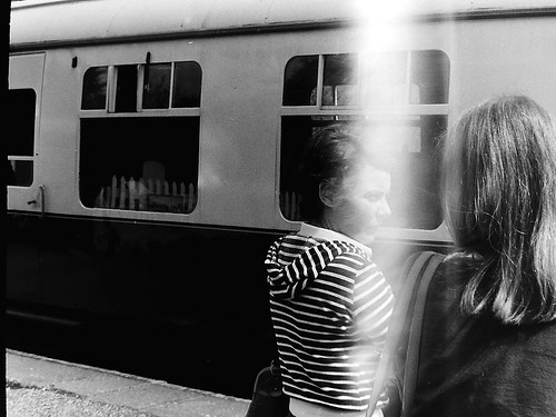 French women at Dartington train station 1976