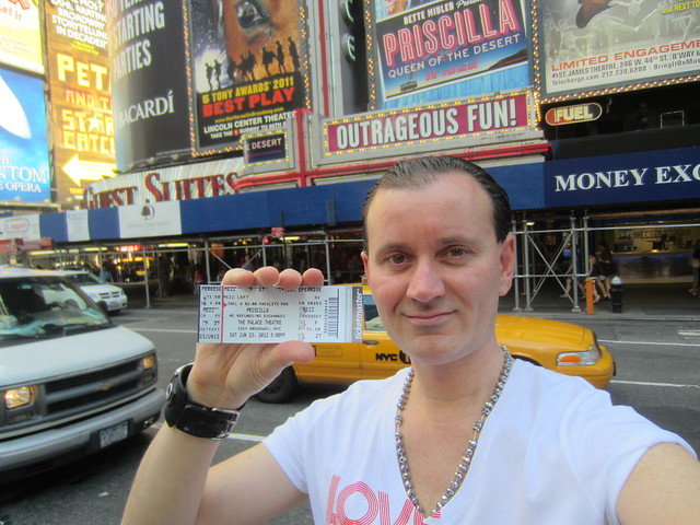 Ryan Janek Wolowski, with ticket for Priscilla, Queen of the Desert the musical closing weekend on Broadway