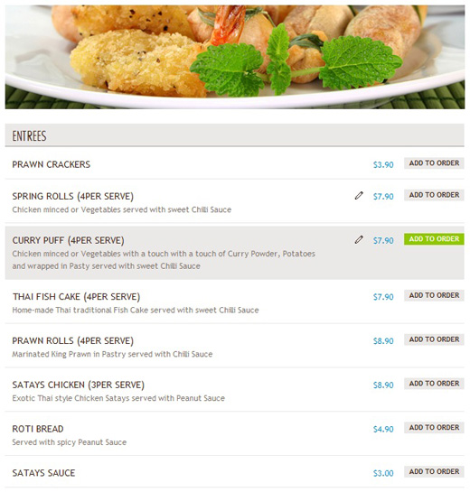 Delivery Hero - Sample Menu