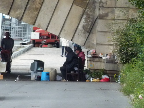 Homeless camp along the Seine