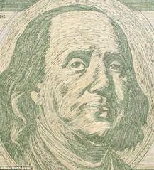 Franklin portrait in shredded money