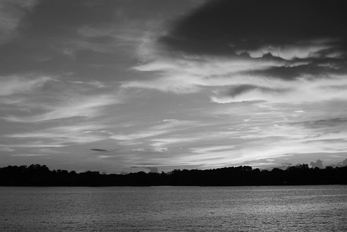 sunset water clouds blackwhite
