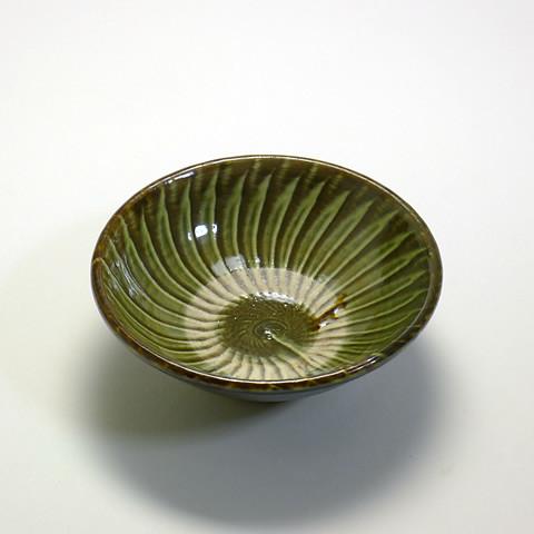 黒木富雄窯 4寸深皿/打ち刷毛目・うす青釉