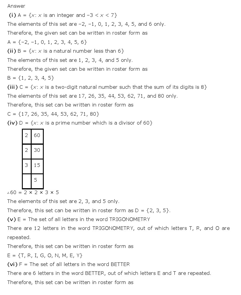 NCERT Solutions for Class 11 Maths Chapter 1 - Sets