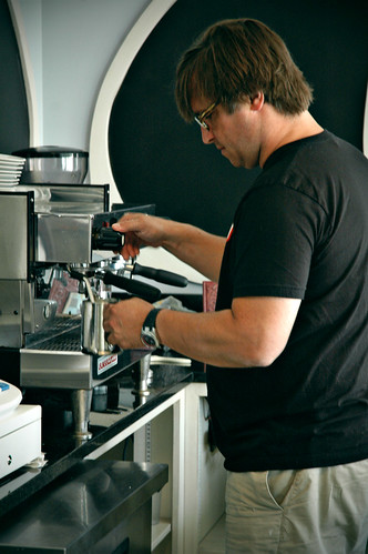 saburba Peter serving coffee
