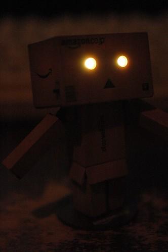 暗闇でも目が光ります