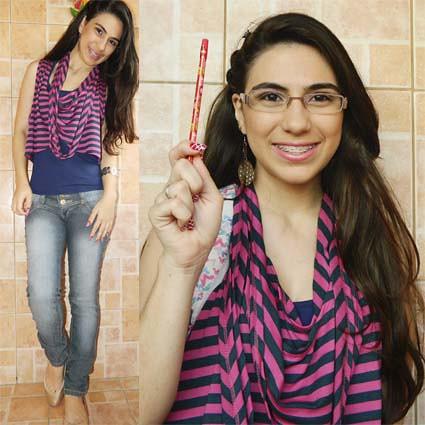 Juliana leite look faculdade escola maquiagem e penteado simples lapis decorado meninas