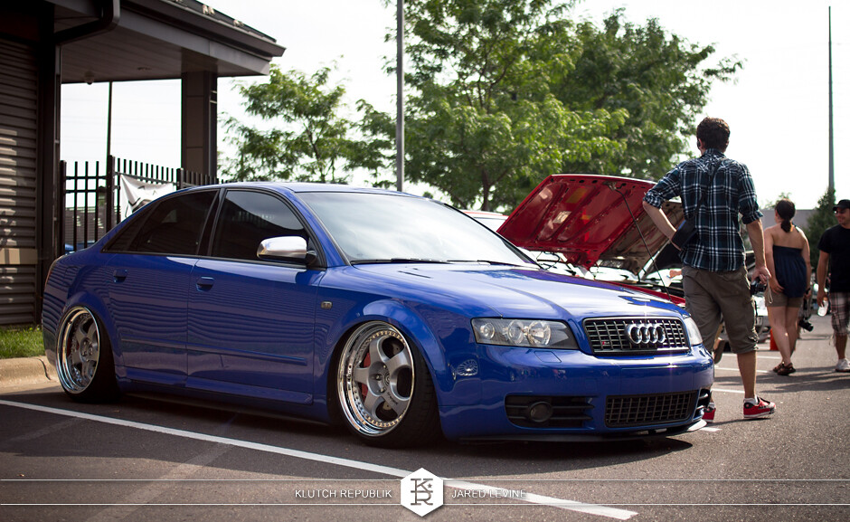 nogaro blue b6 audi a4 s4 rs4 work wheels  euroworks 6 2012 3pc wheels static airride low slammed coilovers stance stanced hellaflush poke tuck negative postive camber fitment fitted tire stretch laid out hard parked seen on klutch republik
