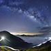 合歡山主峰~雲海●車軌●銀河~  Milkyway above the Clouds & Rails by Shang-fu Dai