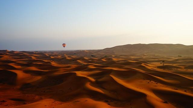 Flying over the Dubai desert