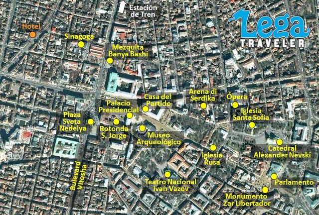 Mapa con los puntos de interés del centro de Sofía, capital de Bulgaria