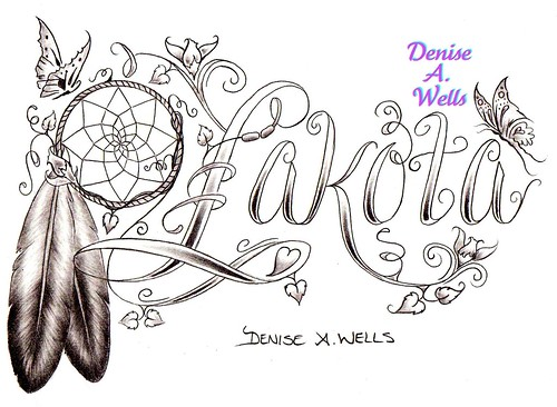 Lakota Dreamcatcher Eagle Feather Tattoo Design by Denise A. Wells