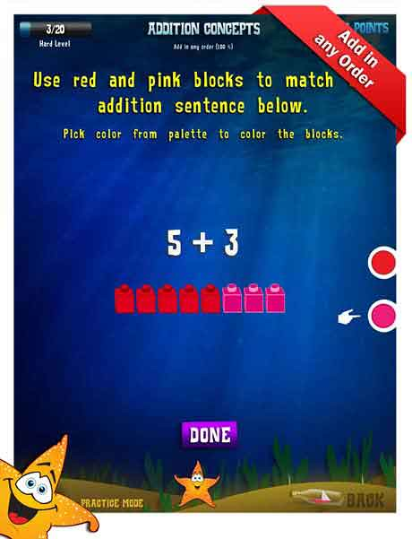 Grade 1 Math App - addition concepts