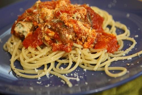 Eggplant Rollatini with Spaghetti