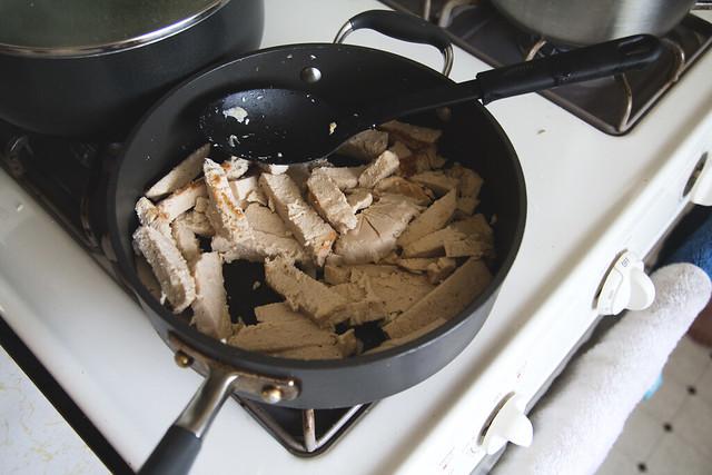 Making Veggie Chicken Adobo
