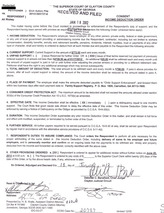 Child Support Court Order Papers - Temporary Orders in