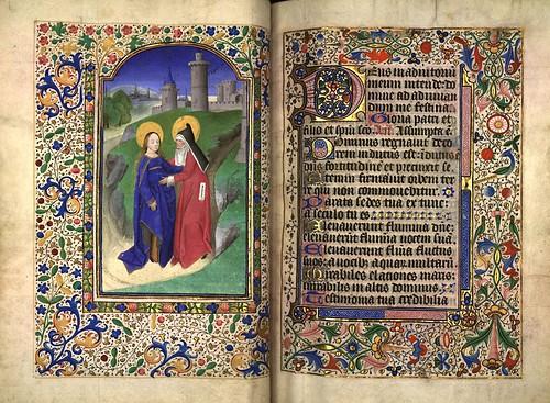 006-La virgen visita a su prima Isabel-folio 54 verso-Heures d'Isabeau de Roubaix- Bibliothèque numérique de Roubaix  MS 6